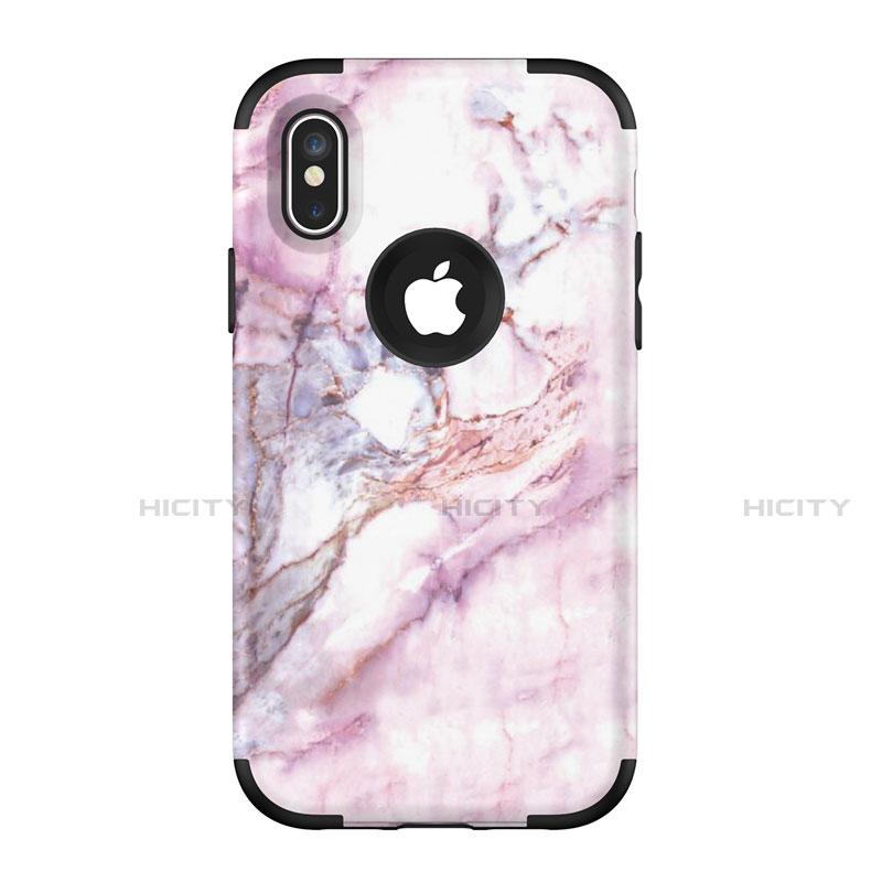 Apple iPhone Xs Max用ハイブリットバンパーケース プラスチック 兼シリコーン カバー 前面と背面 360度 フル U01 アップル