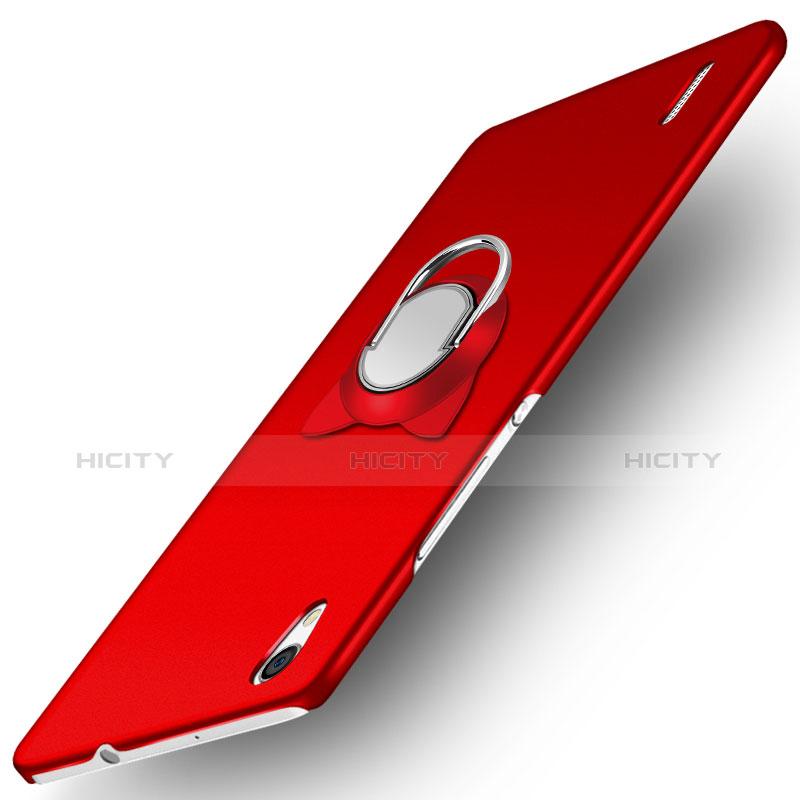 Huawei Ascend P7用ハードケース プラスチック 質感もマット アンド指輪 ファーウェイ レッド