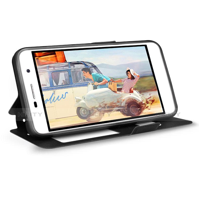 Huawei Enjoy 5用手帳型 レザーケース スタンド L01 ファーウェイ ネイビー