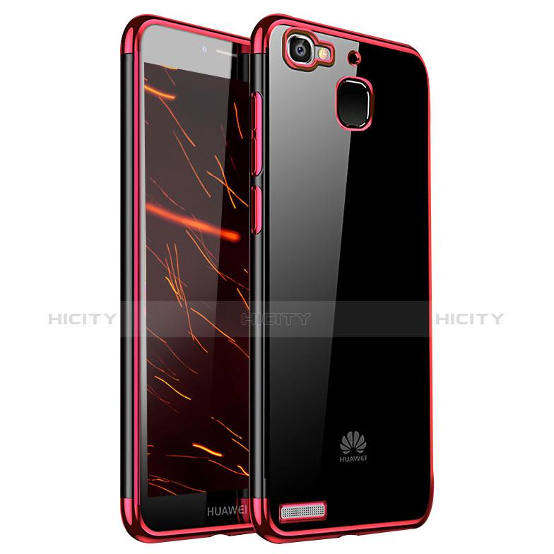 Huawei Enjoy 5S用極薄ソフトケース シリコンケース 耐衝撃 全面保護 クリア透明 H01 ファーウェイ レッド