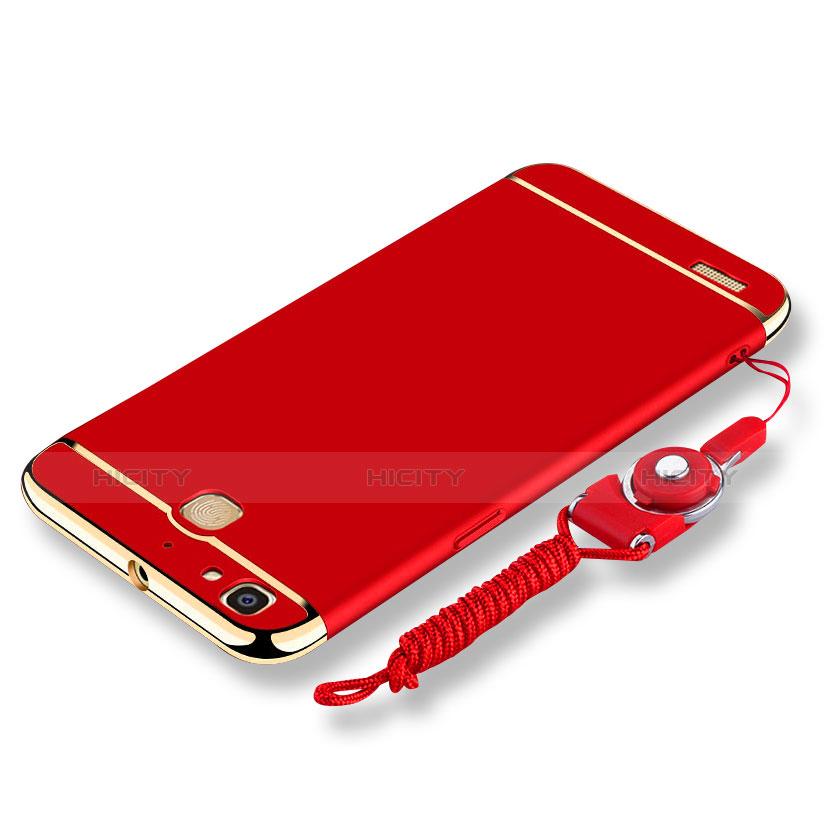 Huawei Enjoy 5S用ケース 高級感 手触り良い メタル兼プラスチック バンパー 亦 ひも ファーウェイ レッド