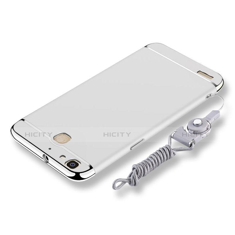 Huawei Enjoy 5S用ケース 高級感 手触り良い メタル兼プラスチック バンパー 亦 ひも ファーウェイ シルバー