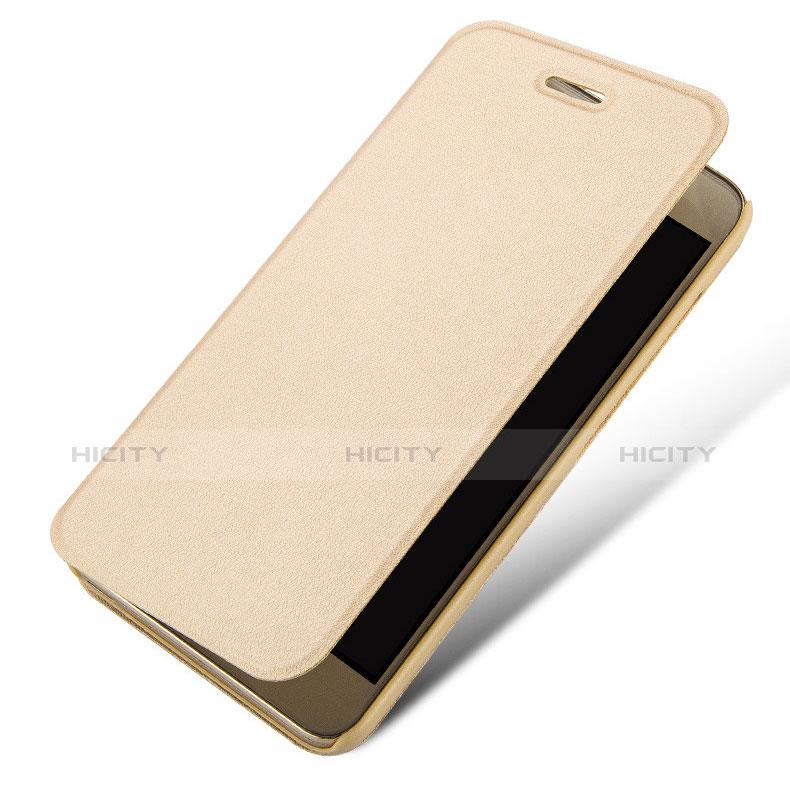 Huawei Enjoy 5S用手帳型 レザーケース スタンド L01 ファーウェイ ゴールド