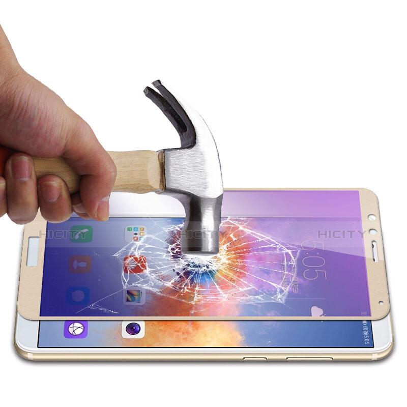 Huawei Honor Play 7X用強化ガラス フル液晶保護フィルム F05 ファーウェイ ゴールド