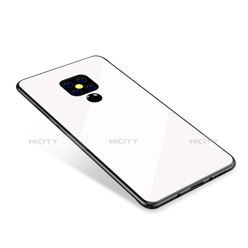 Huawei Mate 20用ハイブリットバンパーケース プラスチック 鏡面 虹 グラデーション 勾配色 カバー ファーウェイ ホワイト