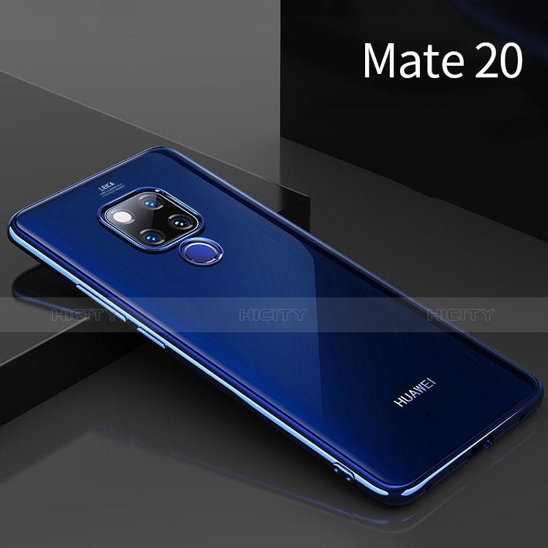 Huawei Mate 20用極薄ソフトケース シリコンケース 耐衝撃 全面保護 クリア透明 T02 ファーウェイ ネイビー