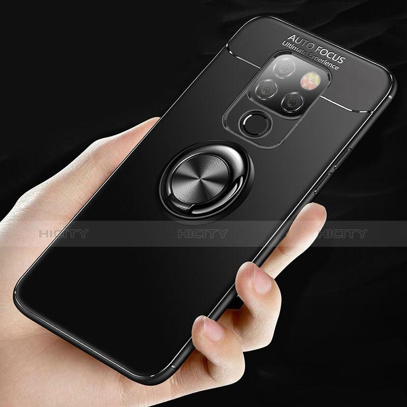 Huawei Mate 20用極薄ソフトケース シリコンケース 耐衝撃 全面保護 アンド指輪 マグネット式 ファーウェイ ブラック