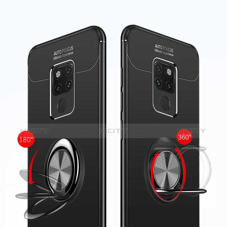 Huawei Mate 20用極薄ソフトケース シリコンケース 耐衝撃 全面保護 アンド指輪 マグネット式 A02 ファーウェイ ブラック