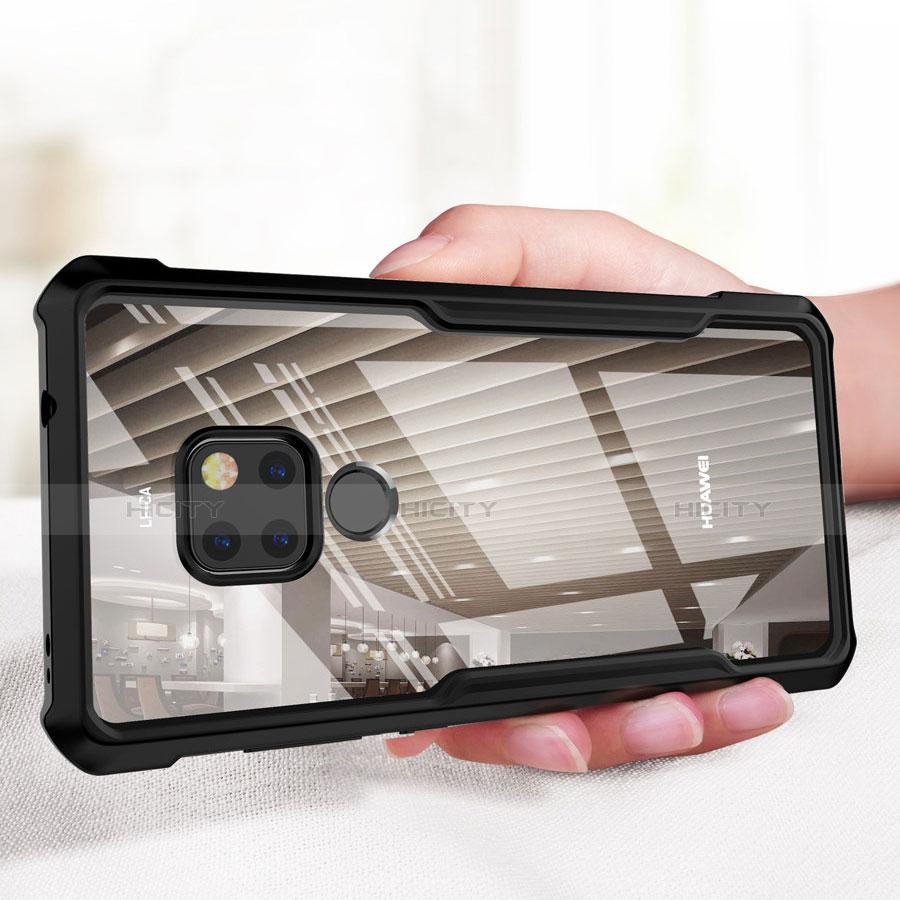 Huawei Mate 20用360度 フルカバーハイブリットバンパーケース クリア透明 プラスチック 鏡面 ファーウェイ ブラック