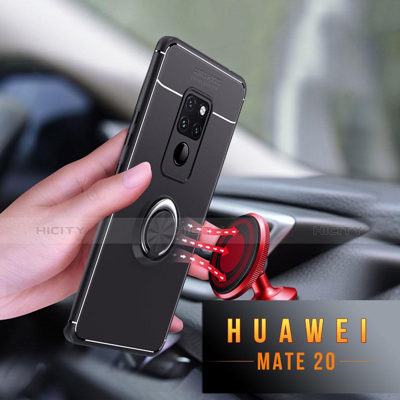 Huawei Mate 20用極薄ソフトケース シリコンケース 耐衝撃 全面保護 アンド指輪 マグネット式 A03 ファーウェイ ブラック