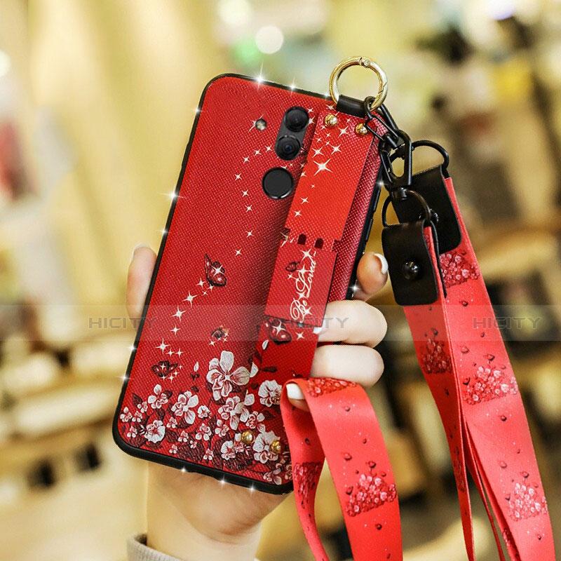 Huawei Mate 20 Lite用シリコンケース ソフトタッチラバー 花 カバー ファーウェイ レッド