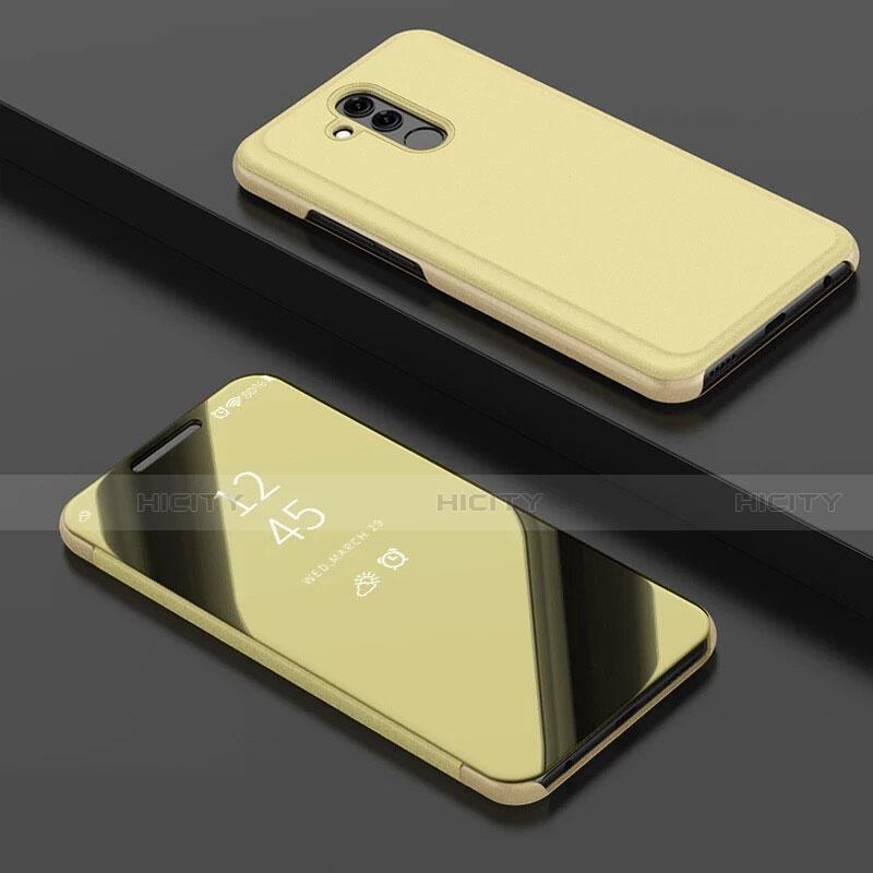 Huawei Mate 20 Lite用手帳型 レザーケース スタンド 鏡面 カバー ファーウェイ ゴールド