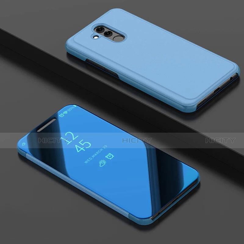 Huawei Mate 20 Lite用手帳型 レザーケース スタンド 鏡面 カバー ファーウェイ ネイビー
