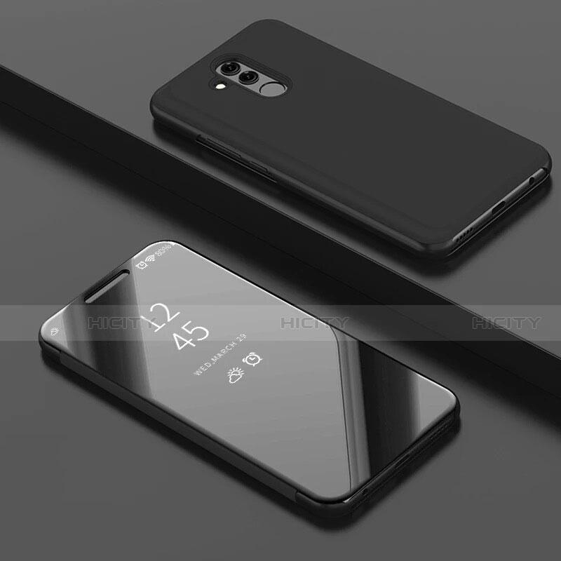 Huawei Mate 20 Lite用手帳型 レザーケース スタンド 鏡面 カバー ファーウェイ ブラック