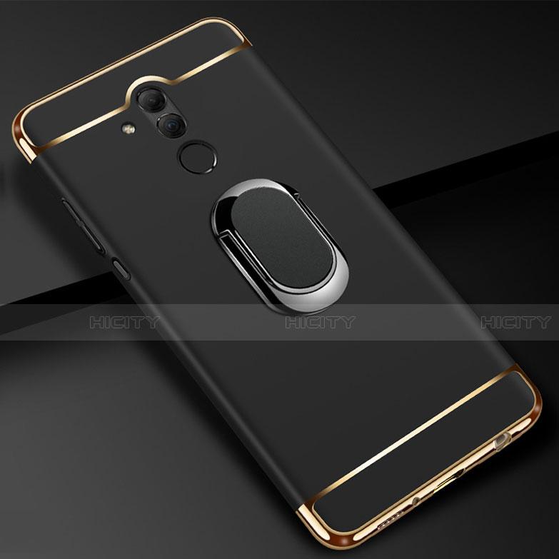 Huawei Mate 20 Lite用ケース 高級感 手触り良い メタル兼プラスチック バンパー アンド指輪 A01 ファーウェイ ブラック