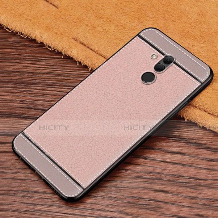 Huawei Mate 20 Lite用シリコンケース ソフトタッチラバー レザー柄 S01 ファーウェイ ピンク