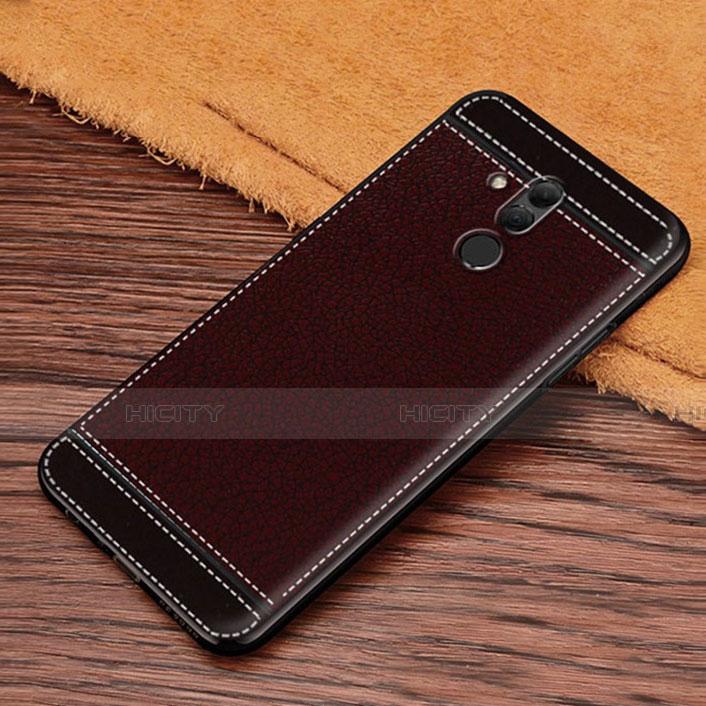 Huawei Mate 20 Lite用シリコンケース ソフトタッチラバー レザー柄 S01 ファーウェイ ブラウン