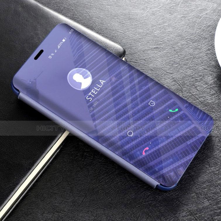 Huawei Mate 20 Lite用手帳型 レザーケース スタンド 鏡面 カバー L02 ファーウェイ ネイビー