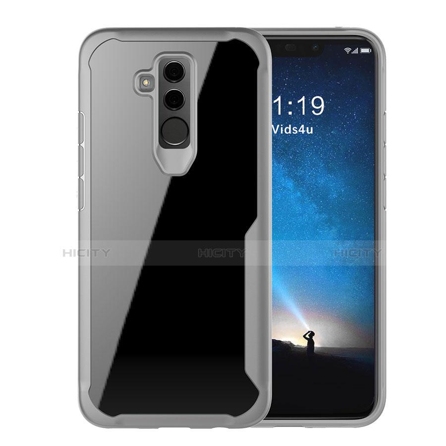 Huawei Mate 20 Lite用ハイブリットバンパーケース クリア透明 プラスチック 鏡面 カバー M01 ファーウェイ グレー