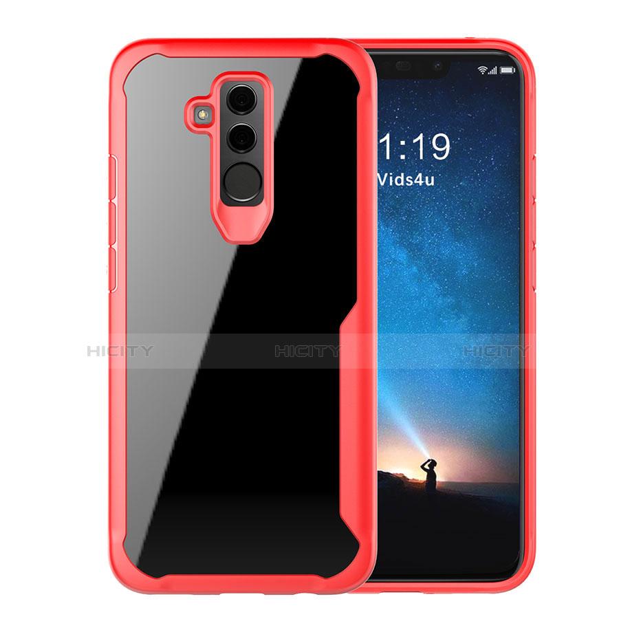 Huawei Mate 20 Lite用ハイブリットバンパーケース クリア透明 プラスチック 鏡面 カバー M01 ファーウェイ レッド