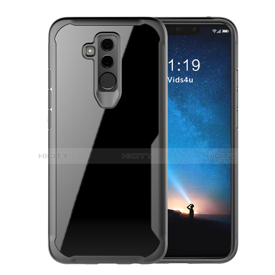 Huawei Mate 20 Lite用ハイブリットバンパーケース クリア透明 プラスチック 鏡面 カバー M01 ファーウェイ ブラック