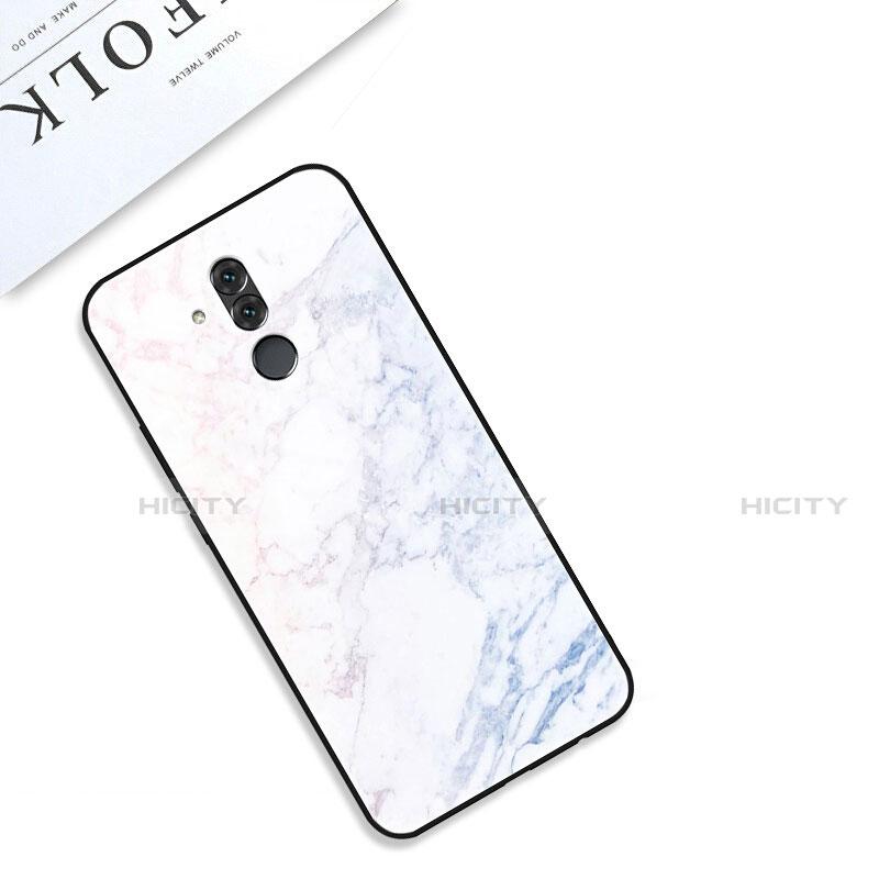 Huawei Mate 20 Lite用ハイブリットバンパーケース プラスチック パターン 鏡面 カバー S01 ファーウェイ ホワイト