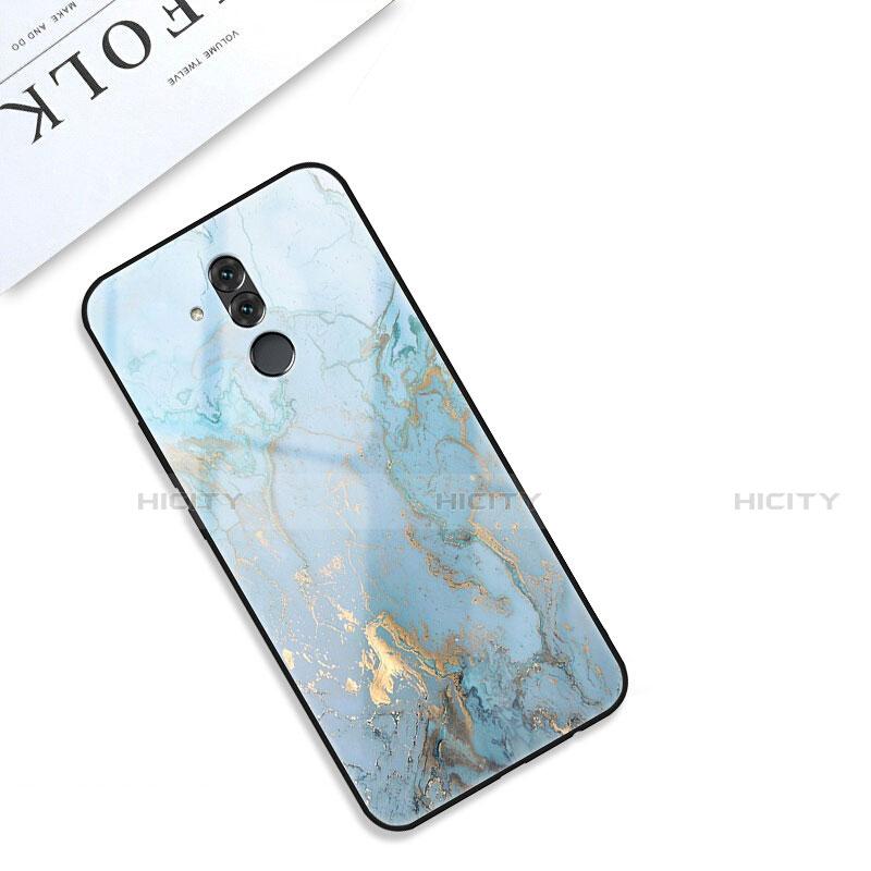 Huawei Mate 20 Lite用ハイブリットバンパーケース プラスチック パターン 鏡面 カバー S01 ファーウェイ シアン