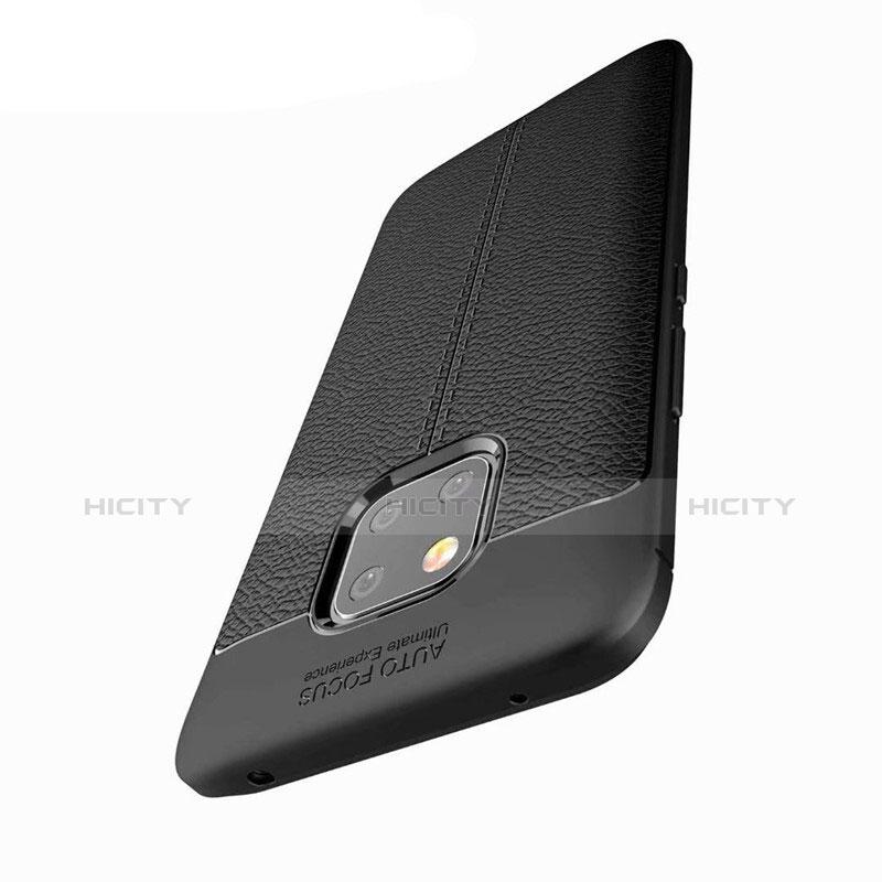 Huawei Mate 20 Pro用シリコンケース ソフトタッチラバー レザー柄 ファーウェイ ブラック