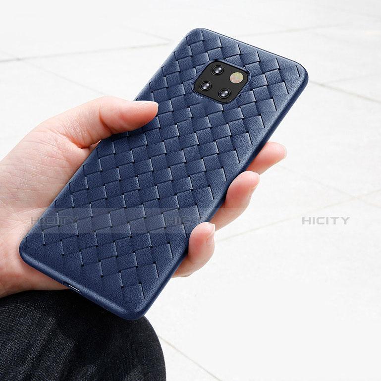 Huawei Mate 20 Pro用シリコンケース ソフトタッチラバー ツイル B02 ファーウェイ ネイビー