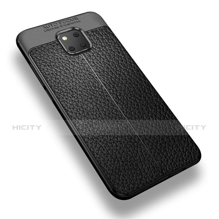 Huawei Mate 20 Pro用シリコンケース ソフトタッチラバー レザー柄 W01 ファーウェイ ブラック