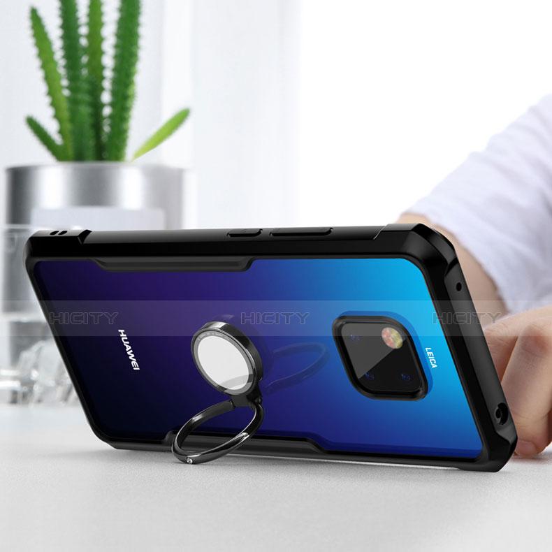 Huawei Mate 20 Pro用ハイブリットバンパーケース クリア透明 プラスチック 鏡面 ファーウェイ ブラック