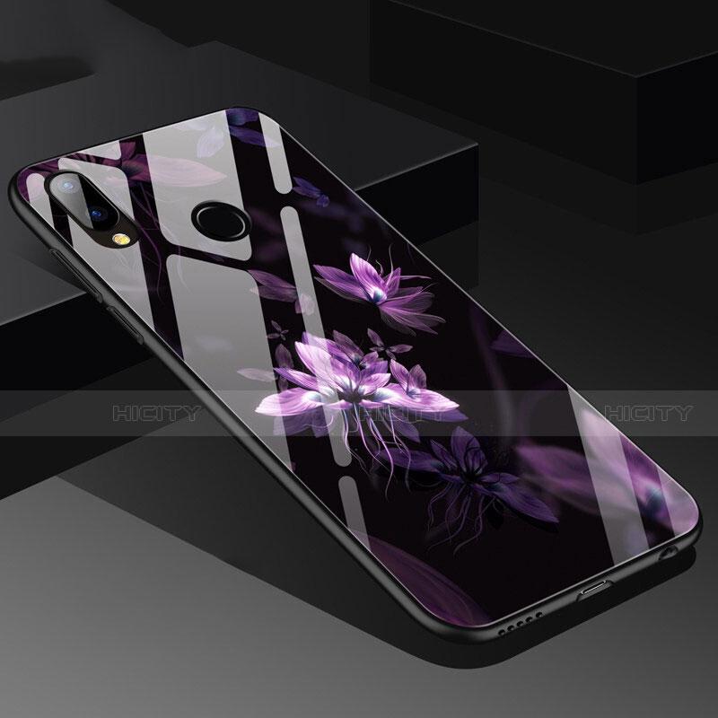 Huawei Nova 3e用ハイブリットバンパーケース プラスチック 鏡面 花 ファーウェイ パープル