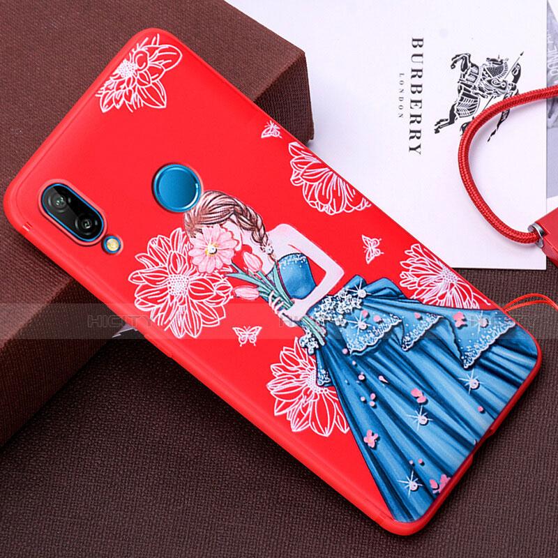 Huawei Nova 3e用シリコンケース ソフトタッチラバー バタフライ ドレスガール ドレス少女 カバー ファーウェイ ブルー