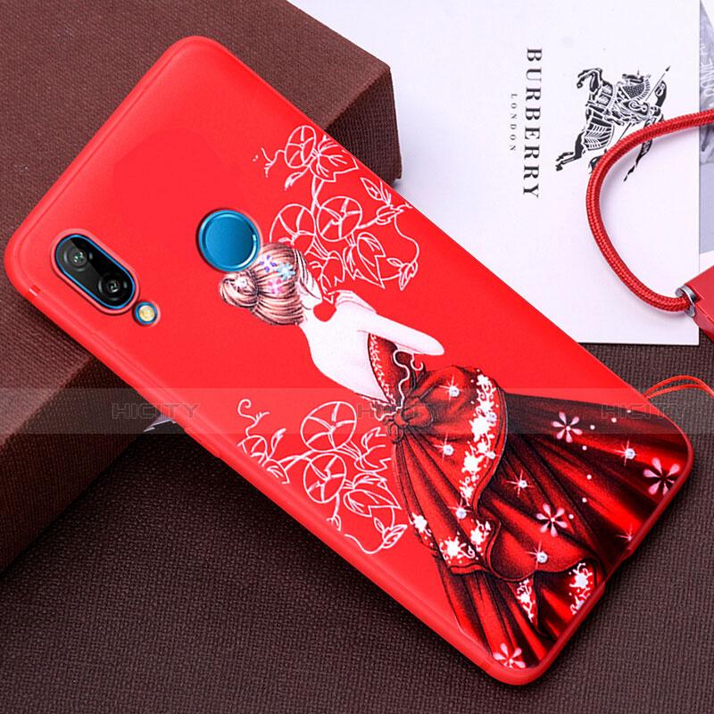 Huawei Nova 3e用シリコンケース ソフトタッチラバー バタフライ ドレスガール ドレス少女 カバー ファーウェイ レッド