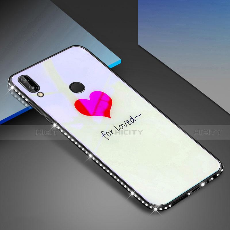 Huawei Nova 3e用ハイブリットバンパーケース プラスチック パターン 鏡面 カバー ファーウェイ ホワイト