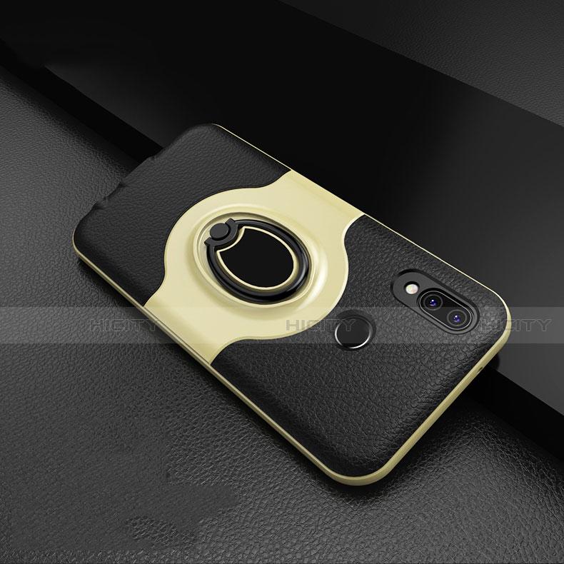 Huawei Nova 3e用シリコンケース ソフトタッチラバー レザー柄 アンド指輪 マグネット式 ファーウェイ ゴールド