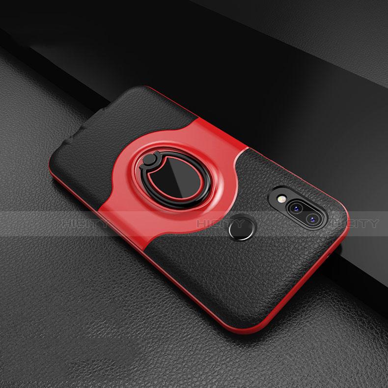 Huawei Nova 3e用シリコンケース ソフトタッチラバー レザー柄 アンド指輪 マグネット式 ファーウェイ レッド