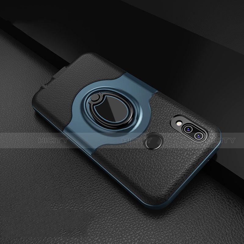 Huawei Nova 3e用シリコンケース ソフトタッチラバー レザー柄 アンド指輪 マグネット式 ファーウェイ ネイビー