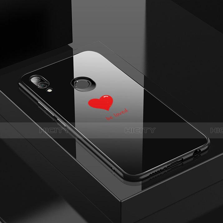Huawei Nova 3e用ハイブリットバンパーケース プラスチック パターン 鏡面 カバー S01 ファーウェイ ブラック