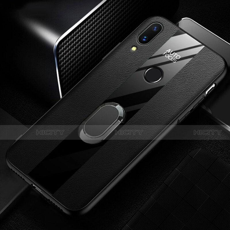 Huawei Nova 3e用シリコンケース ソフトタッチラバー レザー柄 L01 ファーウェイ ブラック