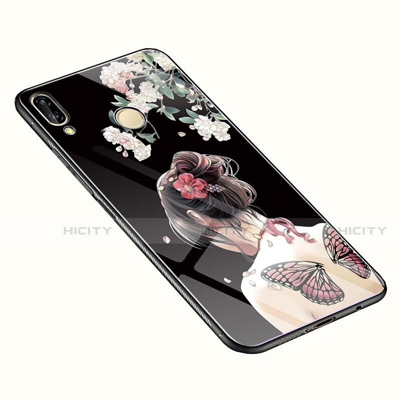 Huawei Nova 3e用ハイブリットバンパーケース プラスチック 鏡面 花 カバー S01 ファーウェイ カラフル