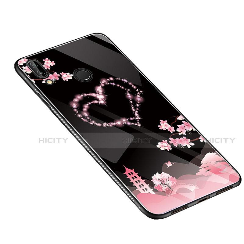 Huawei Nova 3e用ハイブリットバンパーケース プラスチック 鏡面 花 カバー S01 ファーウェイ ピンク