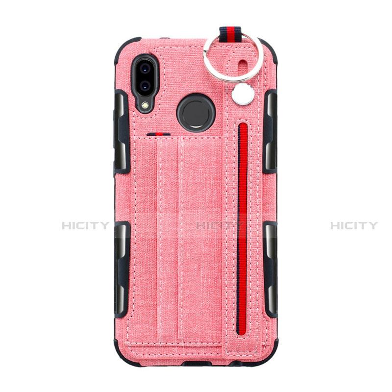 Huawei Nova 3e用手帳型 布 スタンド ファーウェイ ピンク