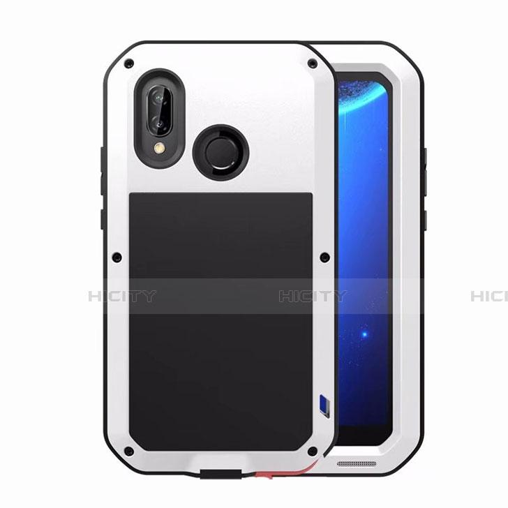 Huawei Nova 3e用ケース 高級感 手触り良い アルミメタル 製の金属製 バンパー 鏡面 カバー ファーウェイ ホワイト