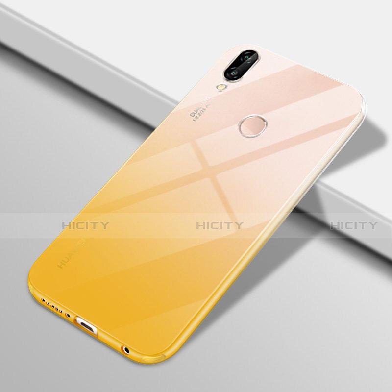 Huawei Nova 3e用極薄ソフトケース グラデーション 勾配色 クリア透明 G01 ファーウェイ イエロー