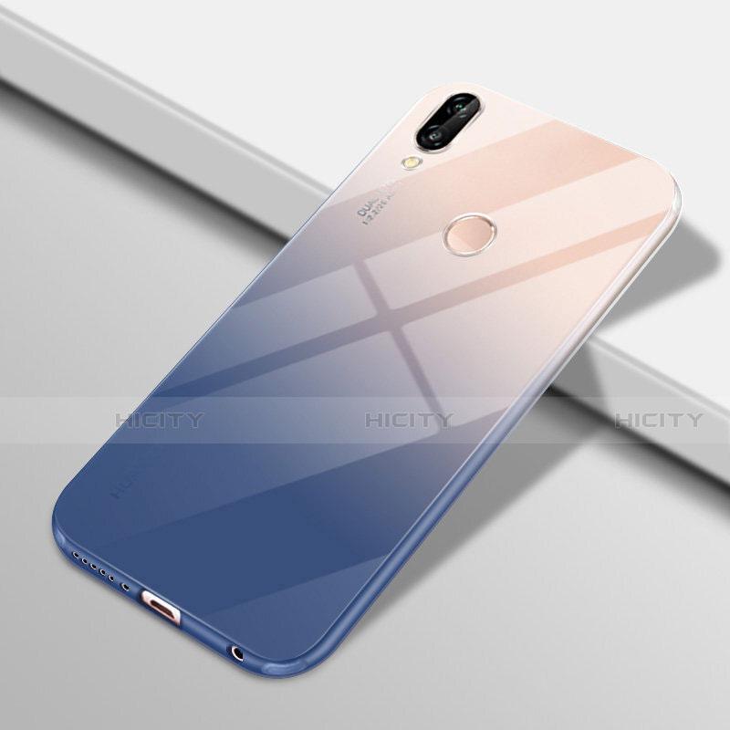 Huawei Nova 3e用極薄ソフトケース グラデーション 勾配色 クリア透明 G01 ファーウェイ ネイビー