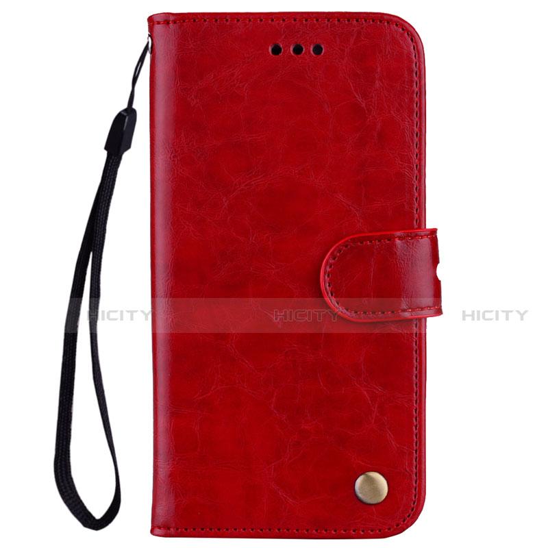 Huawei Nova 3e用手帳型 レザーケース スタンド カバー L07 ファーウェイ レッド