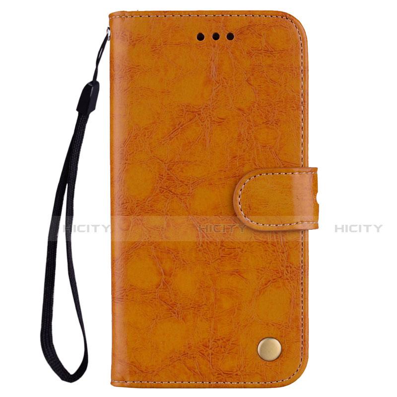 Huawei Nova 3e用手帳型 レザーケース スタンド カバー L07 ファーウェイ オレンジ