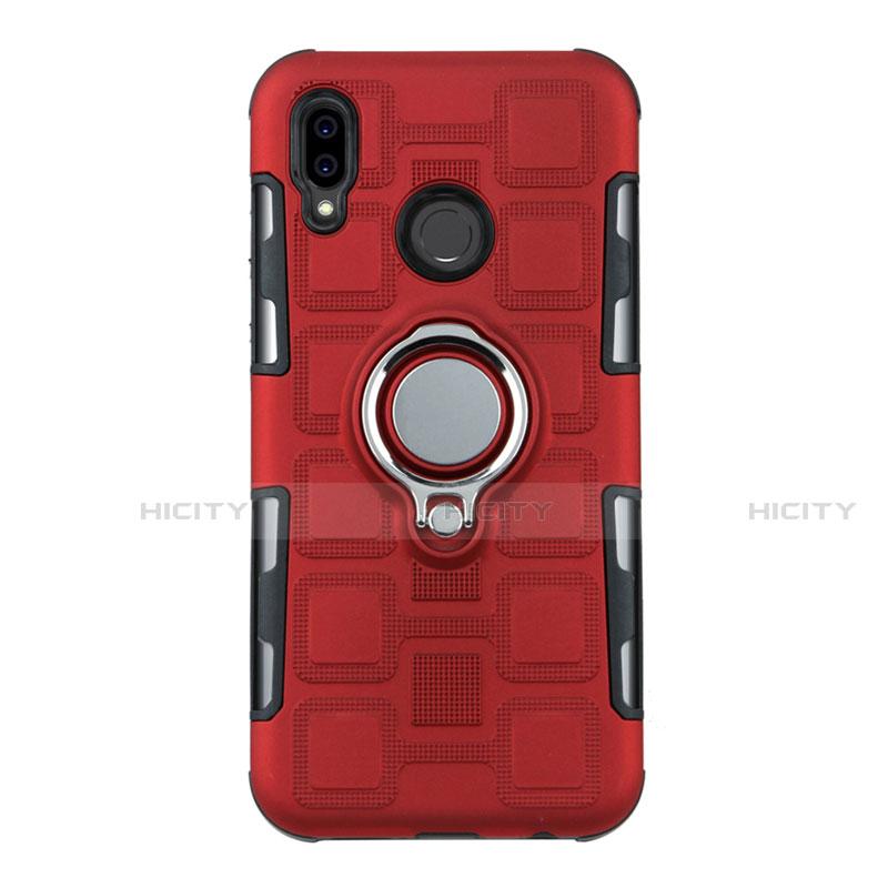 Huawei Nova 3e用ハイブリットバンパーケース プラスチック アンド指輪 兼シリコーン カバー S01 ファーウェイ レッド