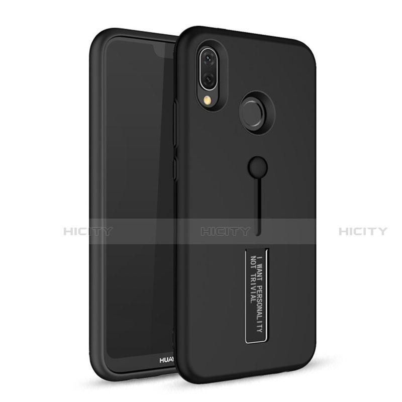 Huawei Nova 3e用ハイブリットバンパーケース スタンド プラスチック 兼シリコーン カバー A01 ファーウェイ ブラック